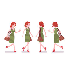 Female clerk walking and running vector