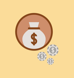 Flat icon on stylish background money bag vector