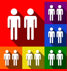gay family sign set of icons with flat vector image