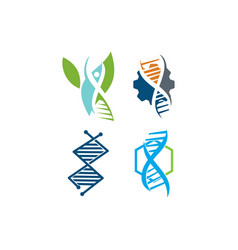 genetic health logo design icon concept set vector image