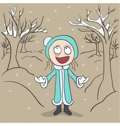 Girl in winter park rejoices first snow vector