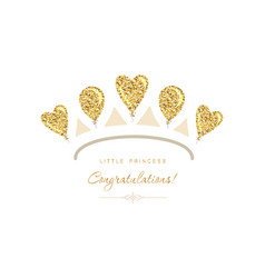 Gold tiara icon made glitter balloons cute vector