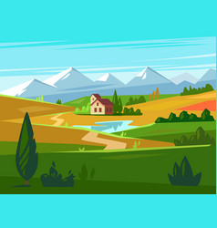 Green fields with huge mountains in the distance vector
