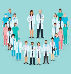 Group doctors and nurses standing together vector