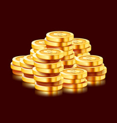 Growing stack golden dollar coins isolated on vector