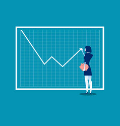 growth graph businesswoman with profit stock vector image