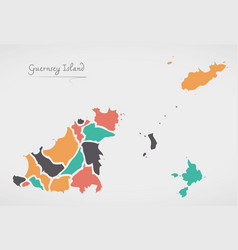 Guernsey map with states and modern round shapes vector