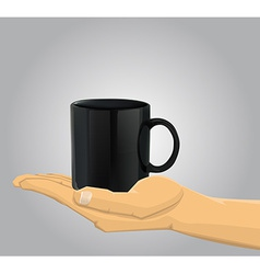Hand holding a cup vector image
