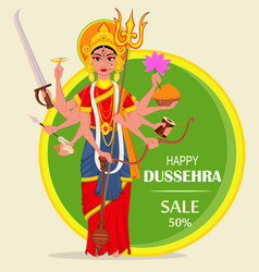 happy dussehra for sale shopping maa durga on vector image