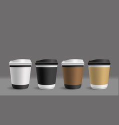 hot coffee cup on gray background vector image