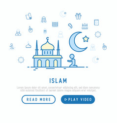 Islam concept with thin line icons vector