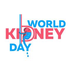 Kidney day banner white vector