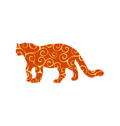 Leopard wildcat color silhouette animal vector