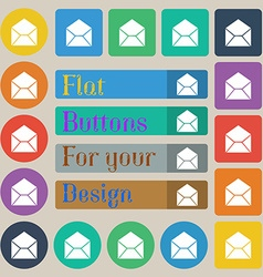 Mail envelope icon sign Set of twenty colored flat vector
