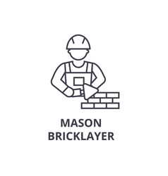 mason bricklayer line icon sign vector image