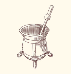 Mate tea engraving style calabash and bombilla vector