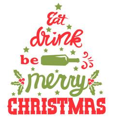 Merry christmas text santa drunk eat drink vector