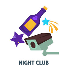 night party or dance club icons for and vector image