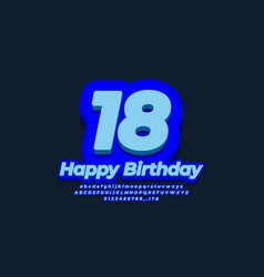 Number eighteen year celebration birthday 3d blue vector