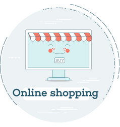 Online shopping concept in line art style vector