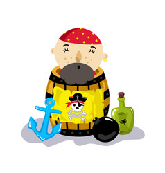pirate character in wooden barrel icon vector image vector image
