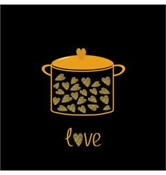 Pot with hearts Love card Gold sparkles glitter vector