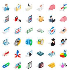 Quantity of money icons set isometric style vector
