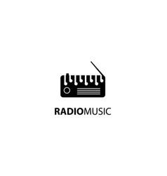 Radio music logo tape design vector
