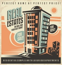 Real estates vintage ad design concept vector image