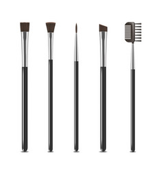 realistic detailed cosmetic brushes narrow set vector image