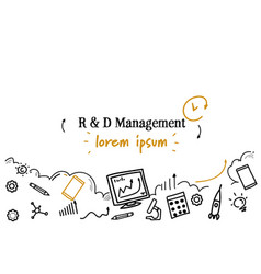 research and development management concept sketch vector image