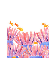 Sea anemone with fish in frame watercolor vector