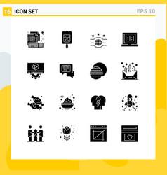 Set 16 commercial solid glyphs pack for video vector