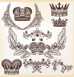 set crowns for your heraldic design vector image