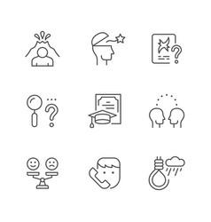 set line icons psychology vector image