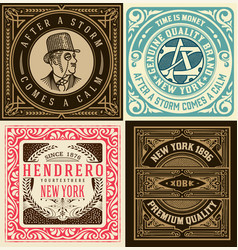 set of 4 old cards vector image
