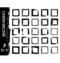 set of grunge square frame elements ink splash vector image