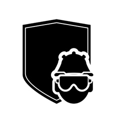 shield and construction worker icon vector image vector image
