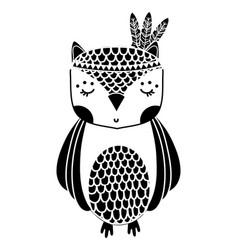 Silhouette cute owl animal with feathers design vector