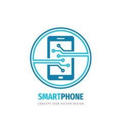 smartphone logo design mobile phone concept sign vector image