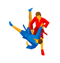 Sparring of two sambo fighters in red and blue vector