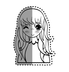 sticker anime cute beautiful woman vector image