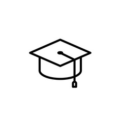 Thin line graduation cap icon vector