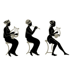 Three old greek style musician girls playing lyre vector