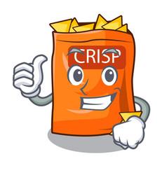 Thumbs up crispy potato chips in bowl cartoon vector