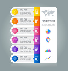 Timeline infographic business concept with 6 vector