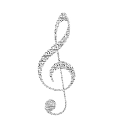 Treble clef with music notes vector