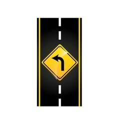 turn left road sign concept graphic vector image
