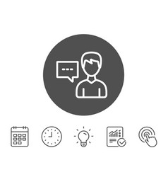 user communication line icon profile sign vector image