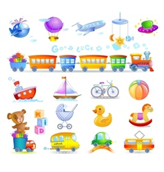 Variety of childrens toys vector image